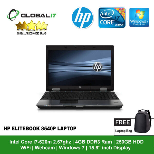(Refurbished Notebook) HP EliteBook 8540p Laptop / 15.6 inch LCD / Intel Core i7-620M / 4GB DDR3 Ram / 250GB HDD / WiFi / Windows 7 / Webcam Malaysia