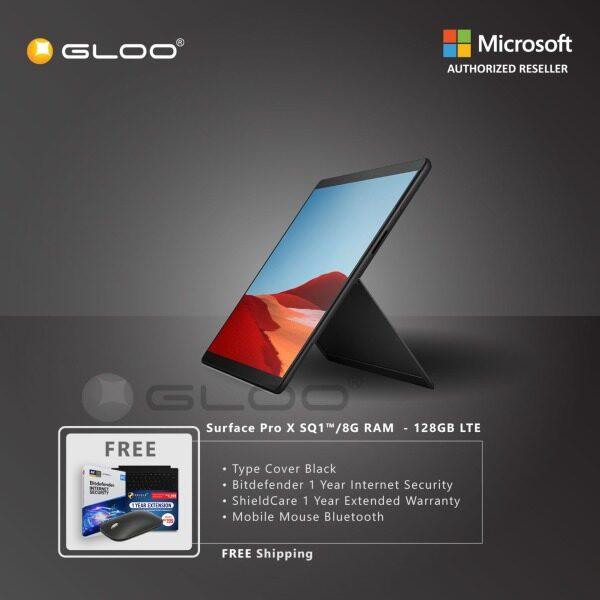 Microsoft Surface Pro X SQ1™/8GB RAM -128GB LTE Black + Pro X TC Black + Shield Care 1 Year + Bitdefender Internet Security+ Mobile Mouse Bluetooth Black Malaysia