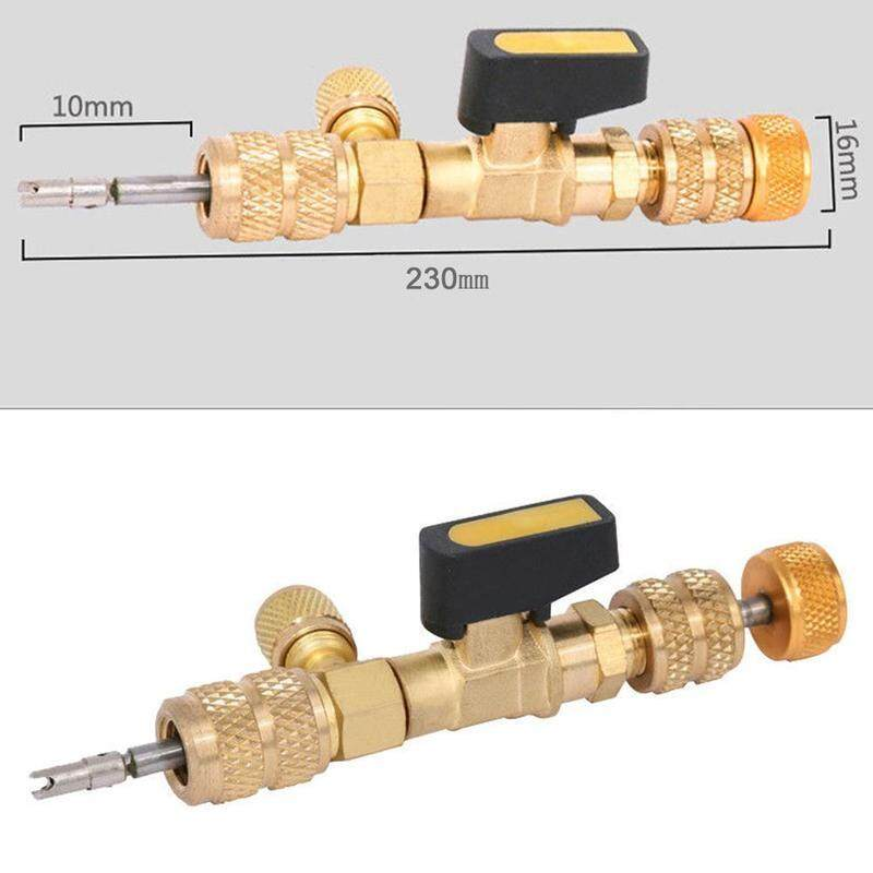 230mm*16mm Brass Valve core tool Valve core removal 1430 dual size spool installation replacement tool HVAC tool and 1/4 port refrigerant 5/16 tools installation X0P0