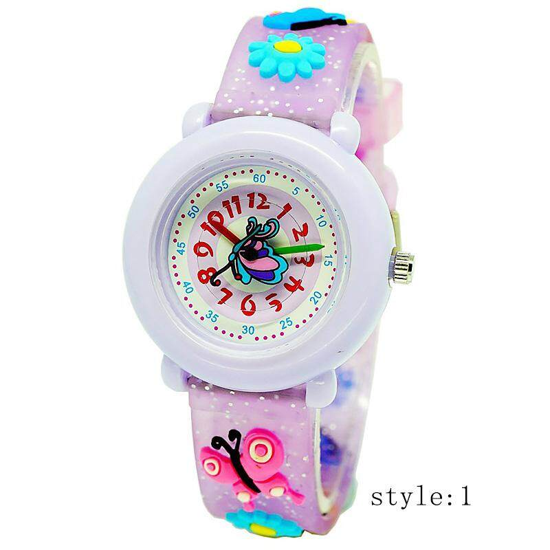 Kids 3D Cute Butterfly Cartoon Watch Waterproof Silicone Quartz Watch For Pupils Girls Malaysia