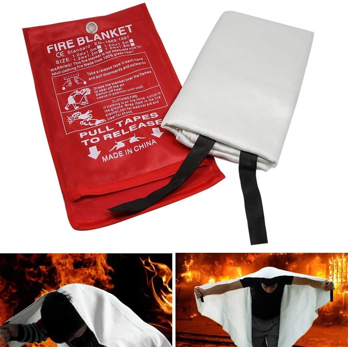 1x1m 1.2x1.2m 1.2x1.8m Fiberglass Fire Blanket Safety Blanket for Emergency Surival, Flame Retardant Protection and Heat Insulation
