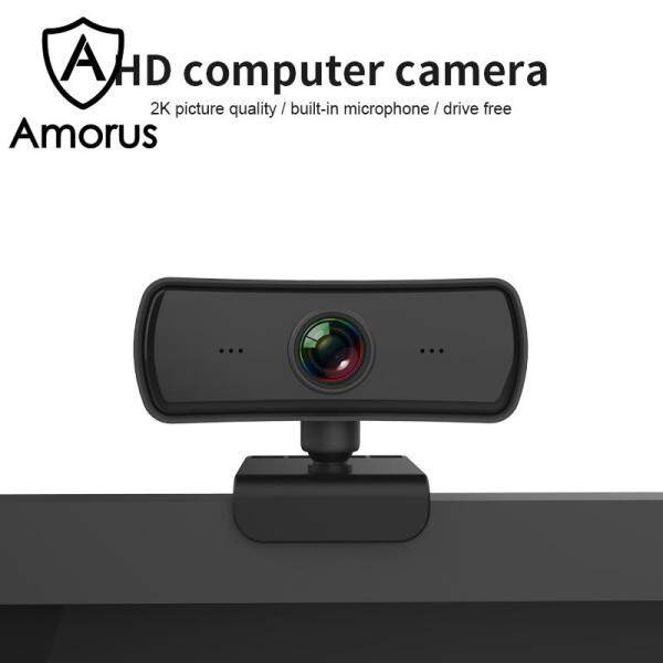 Amorus 4MP 2K Auto Focus HD 1080P Camera 360 Degree Rotation USB Webcam with Mic