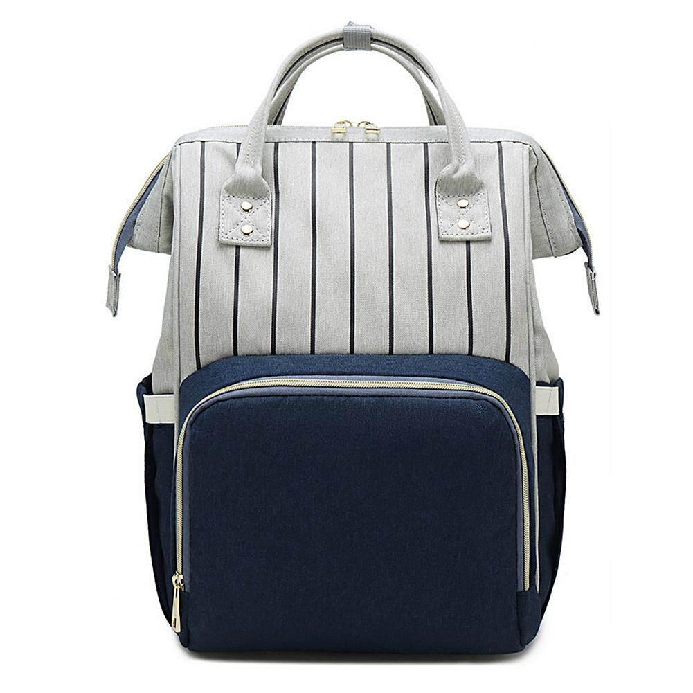 [FordMichaelgEnMh_MY]Nursing Care Baby Bag Stripe Diaper Bag Nappy Bag Organizer Waterproof Maternity Bag