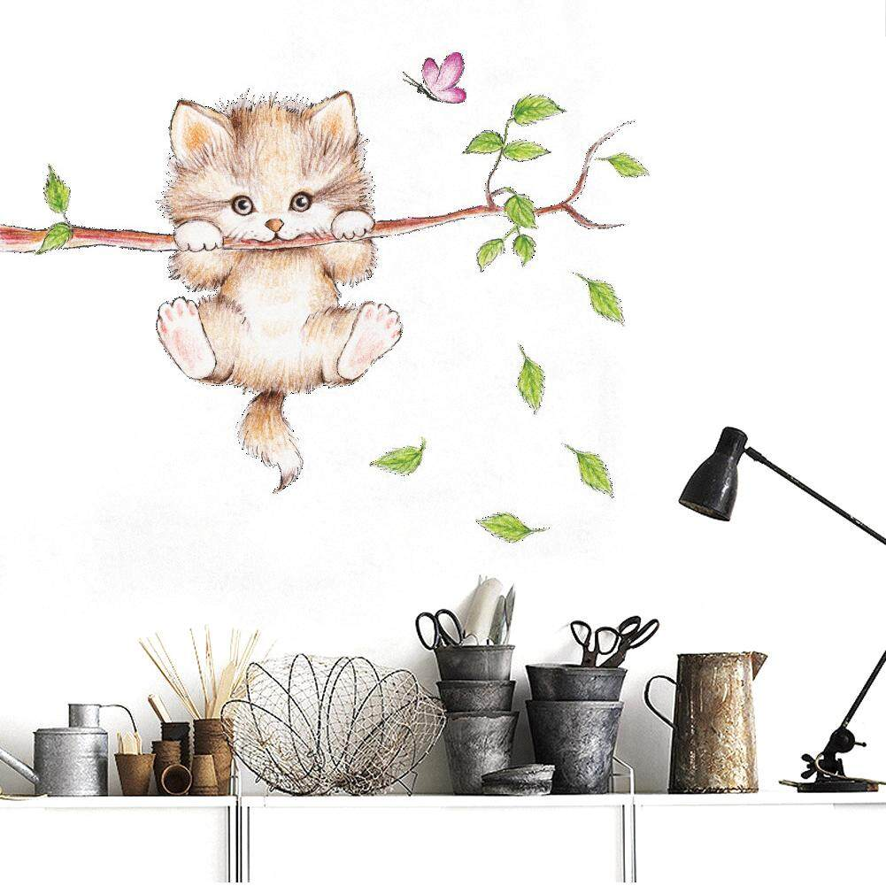 Cute cat butterfly tree branch wall stickers for kids rooms home decor cartoon