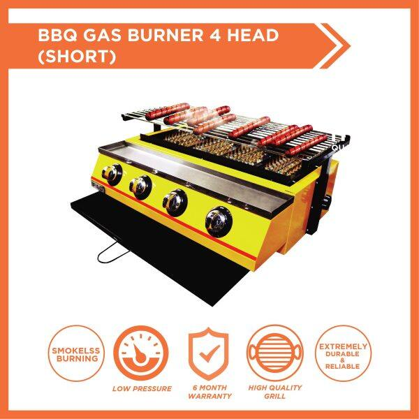 BRAVO Gas 4 Burner*SHORT SIZE* Stainless Steel Quality Commercial Adjustable Height Temperature Portable Smokeless Infrared Thermal Technology Easy Cleaning Outdoor Chicken Dapur Bakar Ayam Ikan Lokcing Satay Barbecue Roasting Oven BBQ Grill Griller Stove