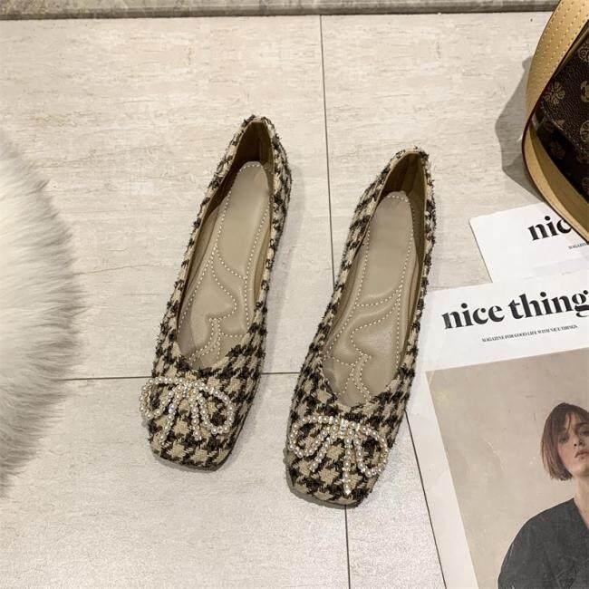 Giày Bệt Nữ Đính Kim Cương Giả Mũi Vuông Giày Đậu Hà Lan Đế Mềm Giày Đơn Miệng Nông Phong Cách Cổ Tích Hoang Dã Mới 2021 giá rẻ