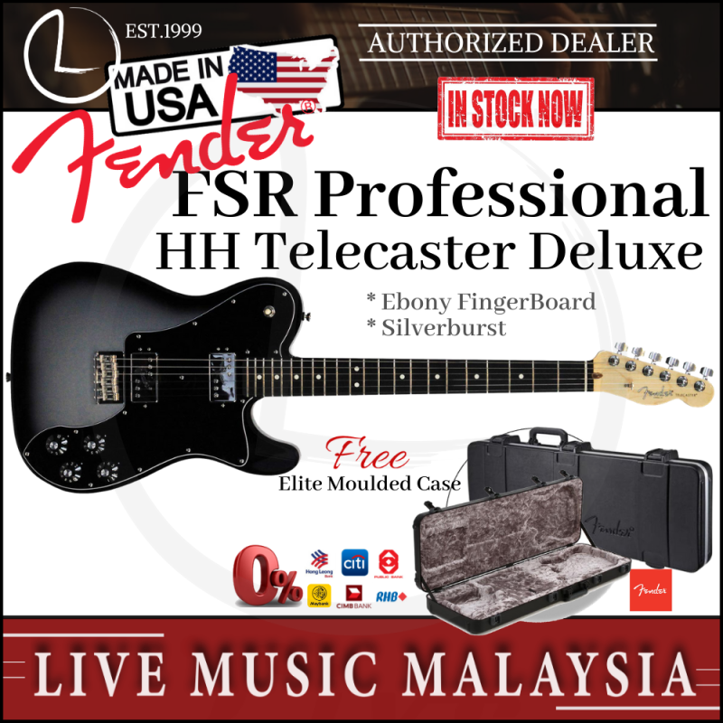 Fender American FSR Professional Telecaster Deluxe Electric Guitar, Ebony Fretboard with Case - Silverburst Malaysia