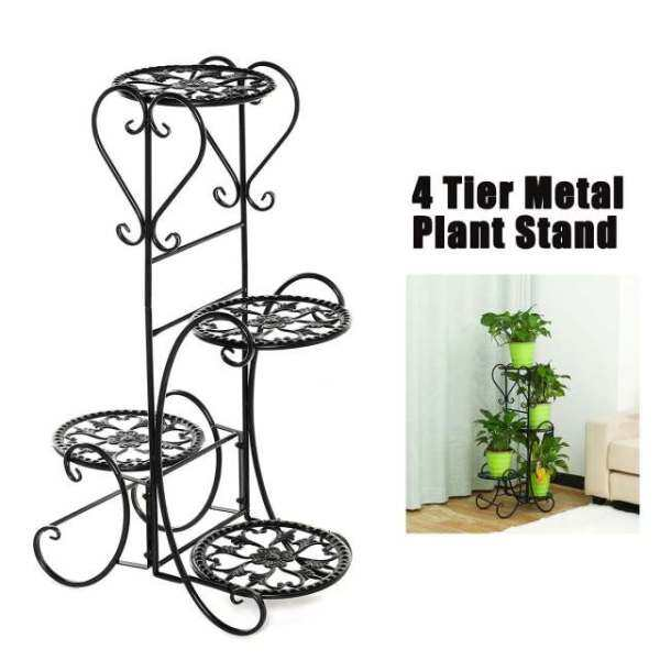 4 Tiers Flower Rack Plant Stand Multi Flower Stand Shelves Bonsai Display Shelf Yard Garden Patio Balcony Pot Plant Stands