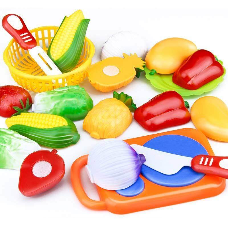 QH 12 Pcs Set Kids Kitchen Toy Plastic Fruit Vegetable Food Cutting Pretend Play Early Educational Children Toys