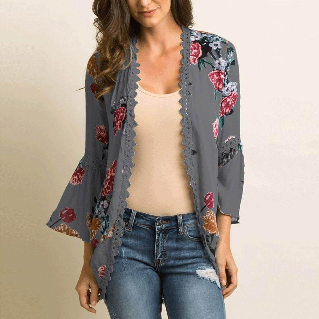 d0136b1fdb [antives]2019 summer new loose casual beach sunscreen topWomens Chiffon  Shawl Print Lace Kimono