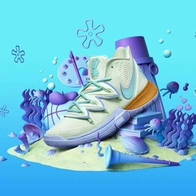 Nike_KYRIE5 Irving 5 SpongeBob SquarePants Bintang Besar Gurita Saudara Sepatu Pria CJ6950 CJ7227