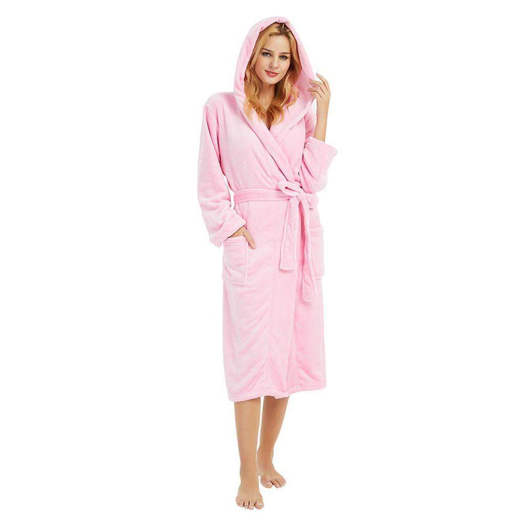 Sportkinger Harga Terendah untuk Wanita Musim Dingin Hoodedlengthened Mewah Selendang Jubah Mandi Sleepweer Lengan Panjang Mantel