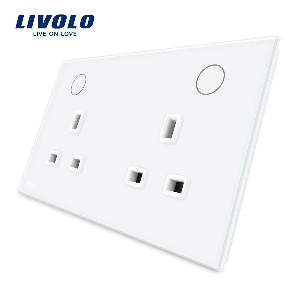 Livolo UK standard double power socket with  switch button  ,13A,110-250V,2 color