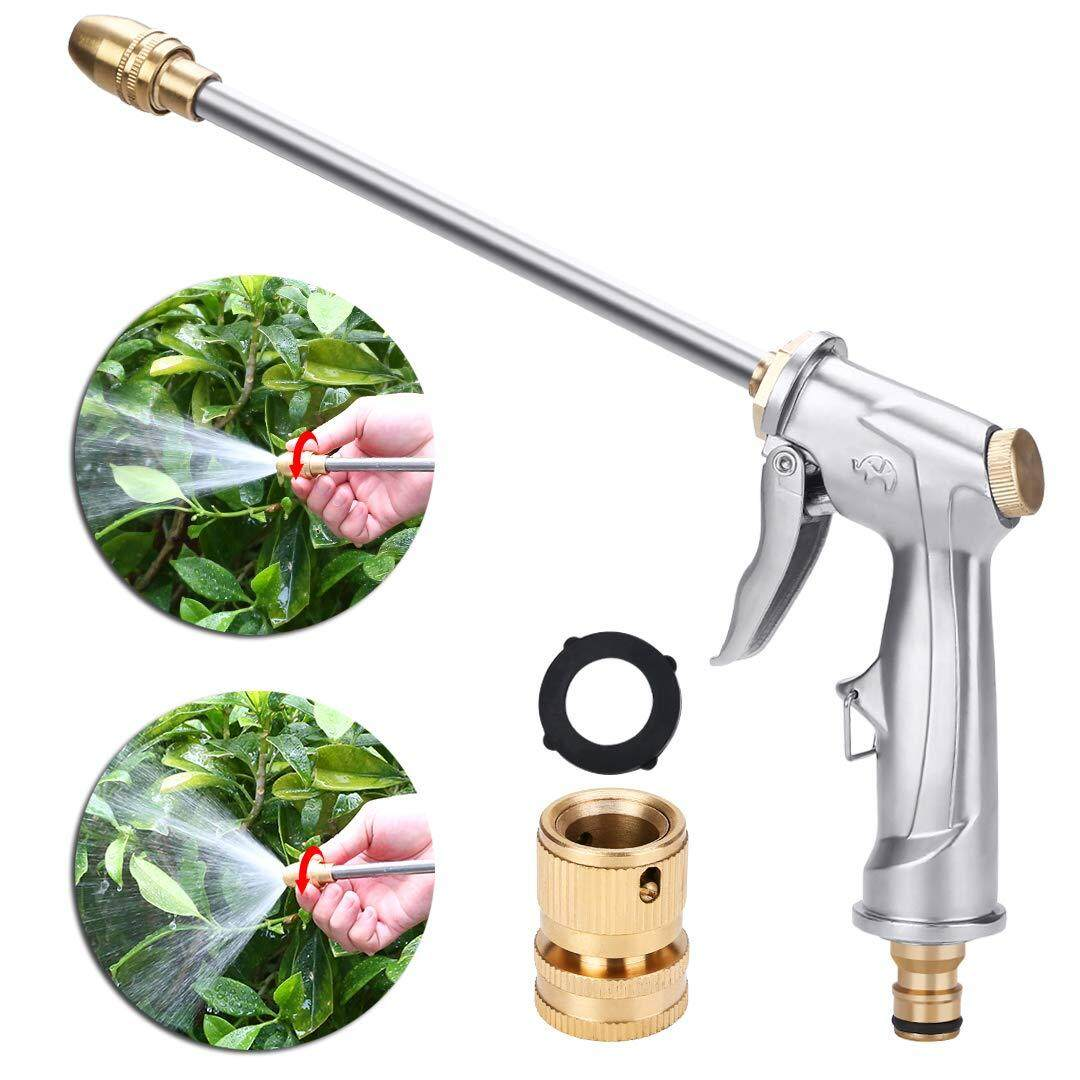 Garden Hose Nozzle Heavy Duty Metal Spray Tool 360° Rotaing Water Adjustmen High Pressure Leak Proof Sprayer for Car Washing, Plants Watering, Pets Shower, Cleaning (Long, Silver)