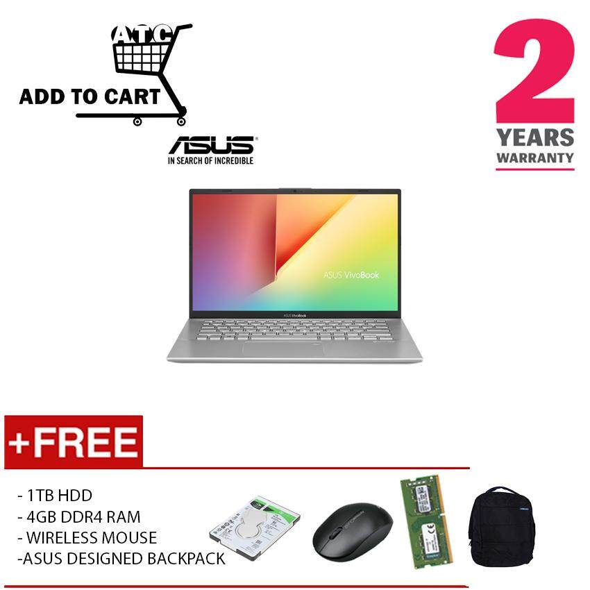 (UPGRADED)ASUS A412F-LEB095T I5-8265U 8GD4 512SSD+1TB HDD MX250 2GD5 WIN10H SILVER 2YRS/CRY Malaysia