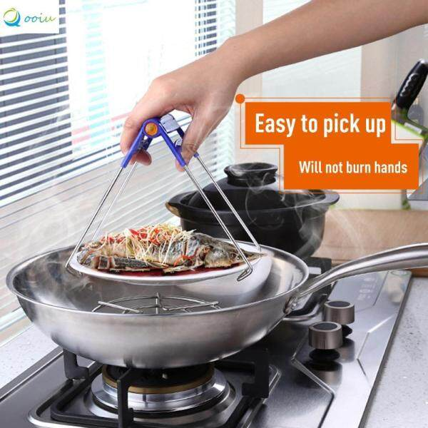 Qooiu Ultra-Durable Hanging Anti-Scalding Multi-Function Cup Holder Storage Tray Clip Bowl Stainless Steel Plate Picker