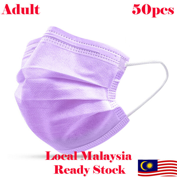 [Local Malaysia Ready Stock] Purple Colour Adult Disposable Face Mask 3ply 50pcs (Box)