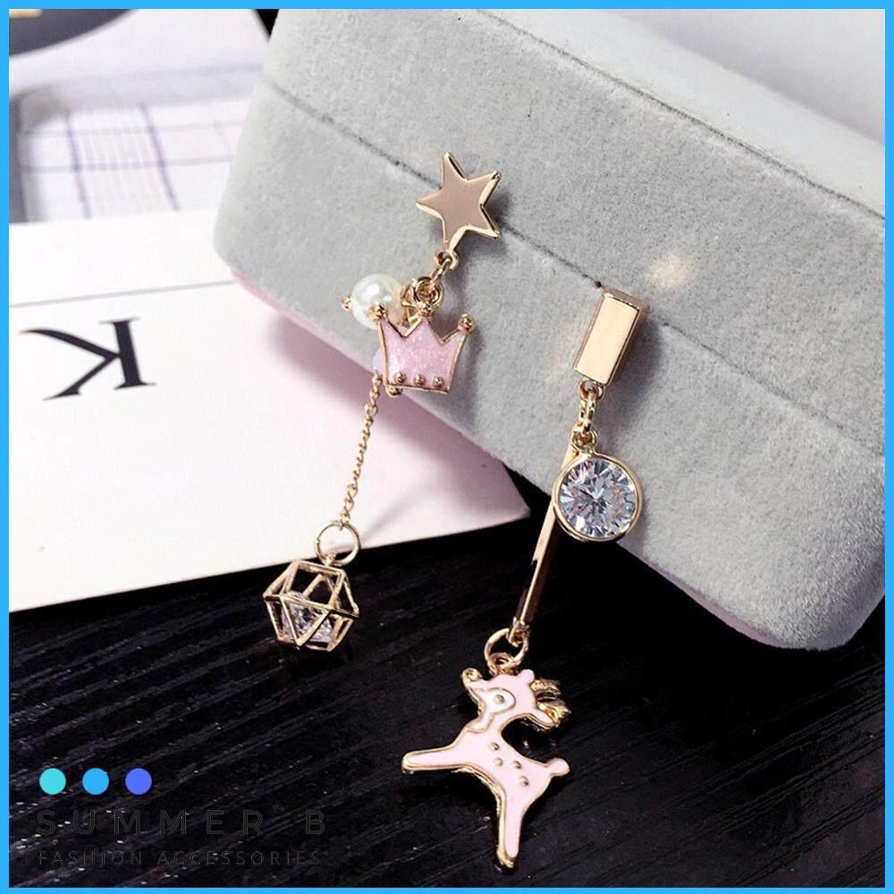 9537e4bc1 Korean Wild Temperament Individual Deer Crown Asymmetric Tassel Earrings