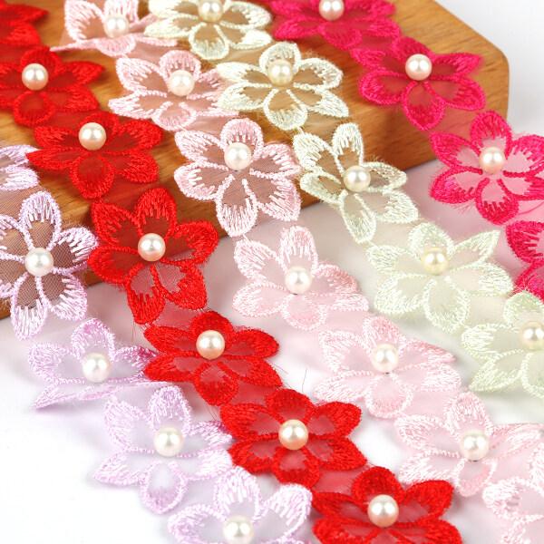 1Yard Ren Thêu Hoa Ngọc Trai Sặc Sỡ 3.3Cm Để Trang Trí Váy Cưới Phụ Kiện May Quần Áo Tự Làm Đồ Trang Trí Ren