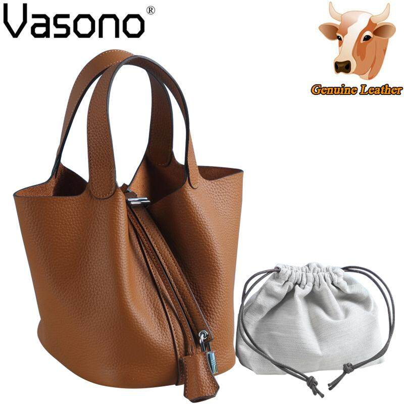 Vasono High Quality Top Grain 100% Genuine Cow Leather Picotin Bag Women Top Handle Bag Handbag