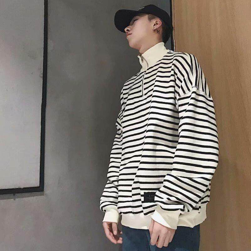 ecb666f44 Spring Autumn Men's Long Sleeve Guard T-shirt Korean Stripe Zipper Sanitary  Clothing Leisure Style
