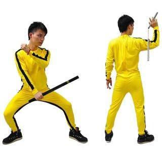 Brucelie Rompers Cho Kid Người Lớn Vàng Wushu Đồng Phục Kung Fu Set Wu Shu Quần Áo Trung Quốc Trang Phục Cho Nam Giới Võ Thuật Bộ thumbnail