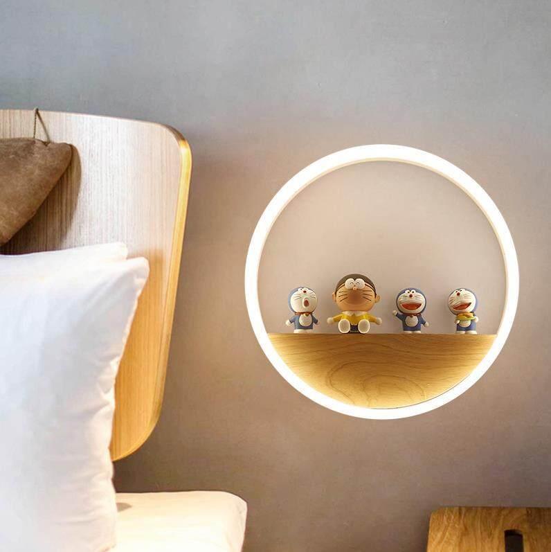 Nordic Log Wall Lamp Individual Bedroom Living Room Childrens Small Modern Simple Creative led Corridor Bedside Lamp