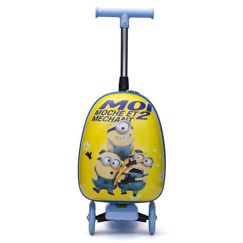 Trẻ em ván trượt xe đẩy hành lý 15 inch hành lý đa năng bánh xe nội trú Xe đẩy với cần gạt 2 trong 1