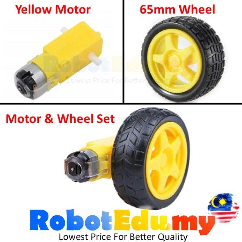 Arduino 3V 5V 6V 9V 200RPM TT 130 2WD 4WD Robot Robotics Smart Car Chassis Set Plastic Gear Yellow DC Motor 68MM Wheel Tayar