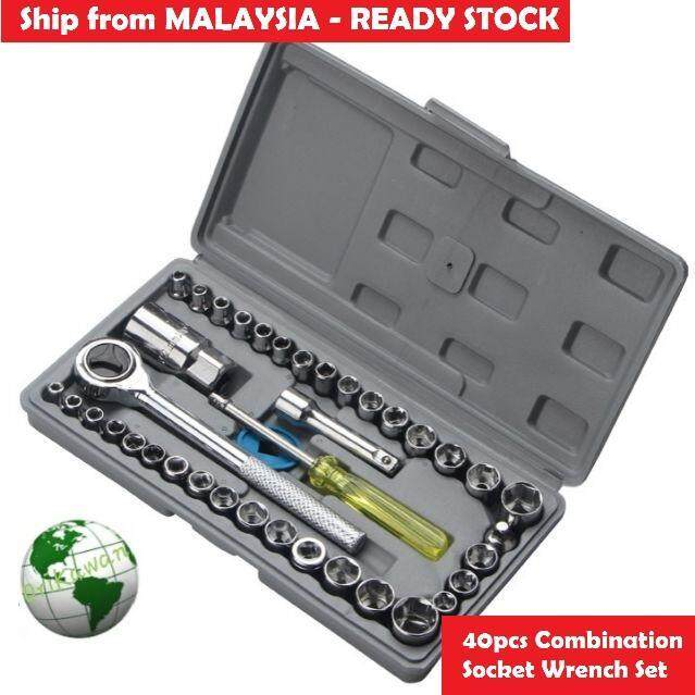 Aiwa 40pcs Combination Socket Ratchet Wrench Motor Repair 40 Spanner Socket Set