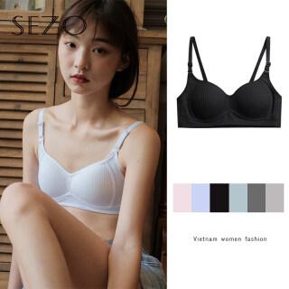 SEZO Hàn Quốc Áo Ngực Kiểu Pháp Gợi Cảm Mà Không Cần Vòng Thép, Đồ Lót Nữ Xếp Nếp Một Màu thumbnail