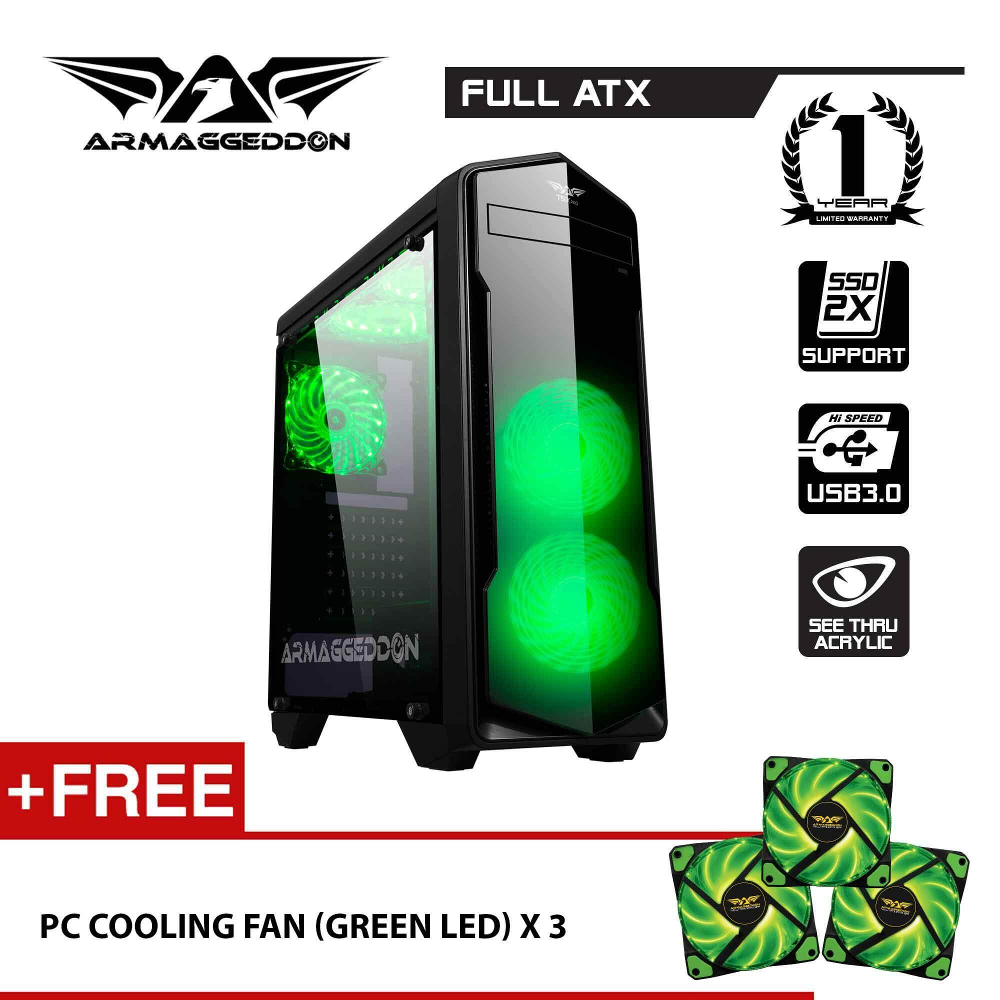 Armaggeddon T5x Pro Full ATX - Smart Gaming Structure PC Case Free PC Cooling LED Fan (x3) Malaysia