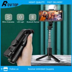Rovtop Giá Đỡ Điện Thoại Di Động Máy Ảnh Gậy Selfie Mini 360 ° Xoay Di Động Trực Tiếp Giá Ba Chân 4.0 Điều Khiển Từ Xa Bluetooth Điều Chỉnh Độ Cao Giá Ba Chân Di Động Cho Điện Thoại Di Động/Máy Ảnh (Có Đèn)