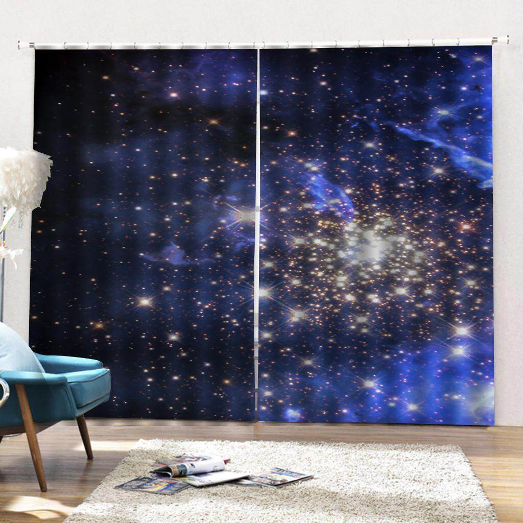 Dolity Blue Starry Sky Bright Patterns Black-out Curtains for Kids Room Living Room