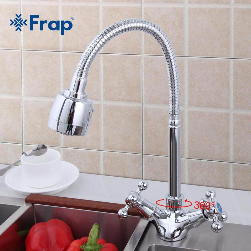 Frap Silver Double Handle Kitchen Sink Faucet Mixer Cold And Hot Kitchen Tap Mixer Single Hole Water Tap Torneira Cozinha F4319 By Frap Official Store.
