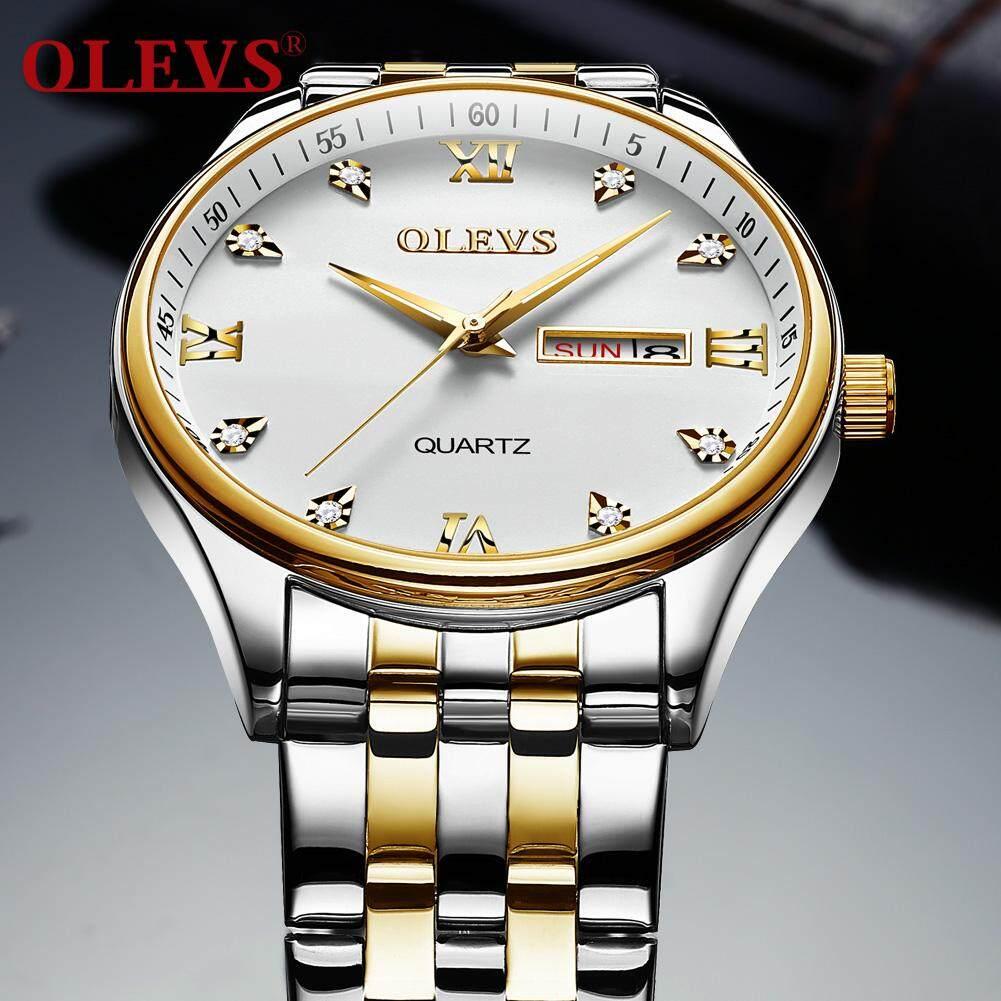 OLEVS Đồng hồ thạch anh nam nhập khẩu cao cấp Sáng đôi lịch hiển thị đồng hồ thép không gỉ đa chức năng đồng hồ nam quartz Không thấm nước bán chạy