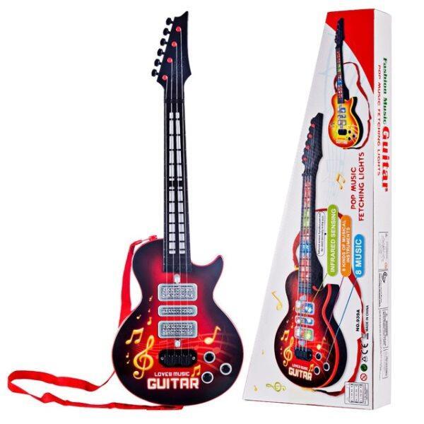 Guitar Điện 4 Dây Trẻ Em Nhạc Cụ Giáo Dục Đồ Chơi-Màu Đỏ