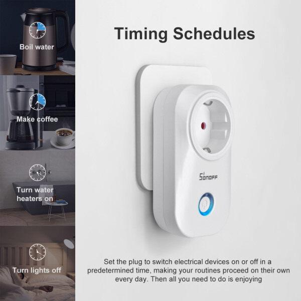 Phích Cắm Thông Minh SONOFF S20 Wifi Ổ Cắm Thông Minh Không Dây EU EWeLink Công Tắc Nhà Thông Minh Điều Khiển Bằng Ứng Dụng, Điều Khiển Bằng Giọng Nói, Hoạt Động Với Amazon Alexa G ** Gle Trợ Lý
