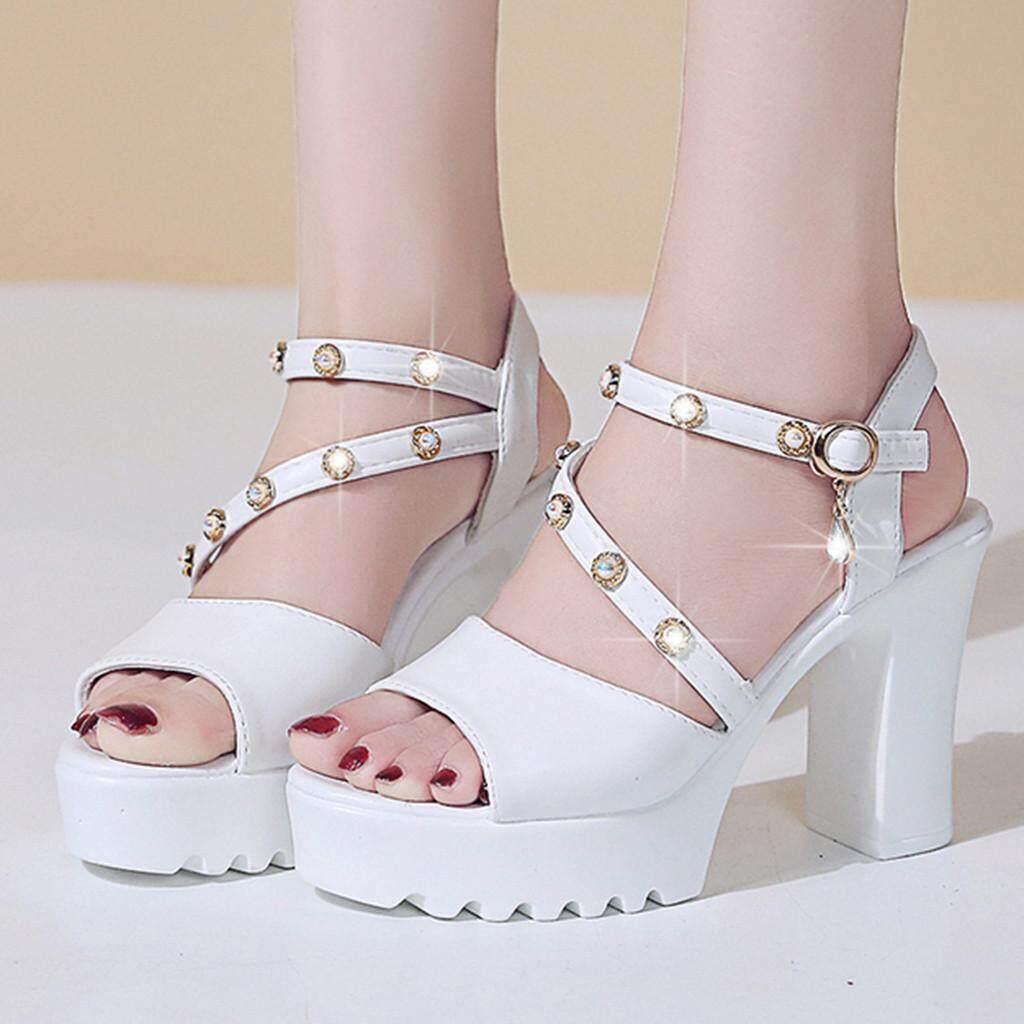 d23ba56e3a2 Rowellshop Wanita Musim Panas Pertengahan Tinggi Bergaya Korea Tumit Sandal  Wanita Fashion Crystal Solid Peep Toe Gesper Kasual Sepatu Sandal