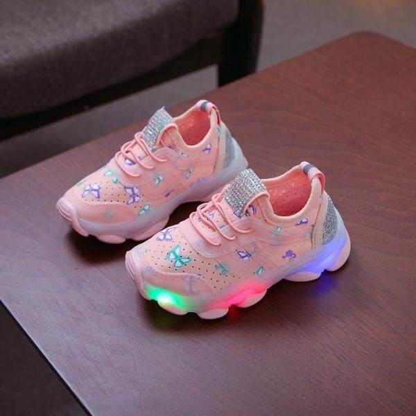 Giá bán Bốt thể thao huadoaka cho bé gái giày chạy Giày phát sáng đèn led hình bướm đính pha lê cho bé gái trẻ em em bé