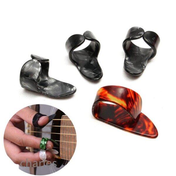 Tốt Celluloid 1 Ngón Tay Cái + 3 Ngón Tay Guitar Picks Guitar Plectrums Vỏ Bọc Cho Acoustic Electric Bass Guitar Màu Sắc Ngẫu Nhiên
