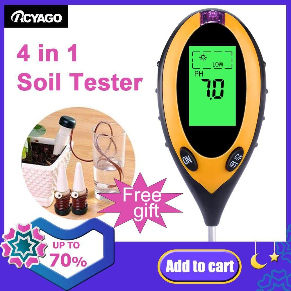 RCYAGO 4 IN 1 Digital Soil Moisture Meter PH Meter Temperature Sunlight Tester