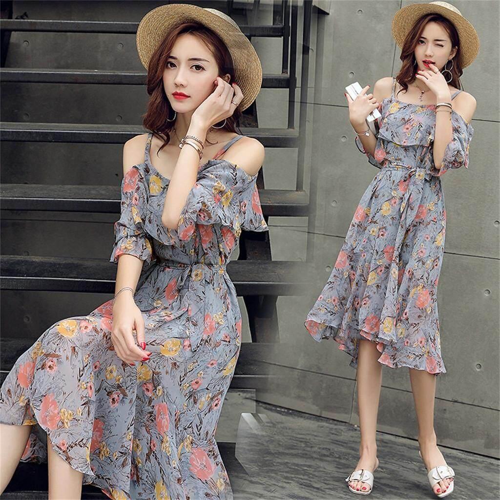 Carolaneshop Dress For Women New Woman New Fashion Spring And Summer Short Sleeve Long Slim Strap Floral Dress By Carolaneshop.