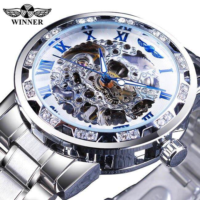 Winner Blue Watches Diamond Design Skeleton Mens Mechanical Wrist Watches Clock Male Silver Stainless Steel Malaysia
