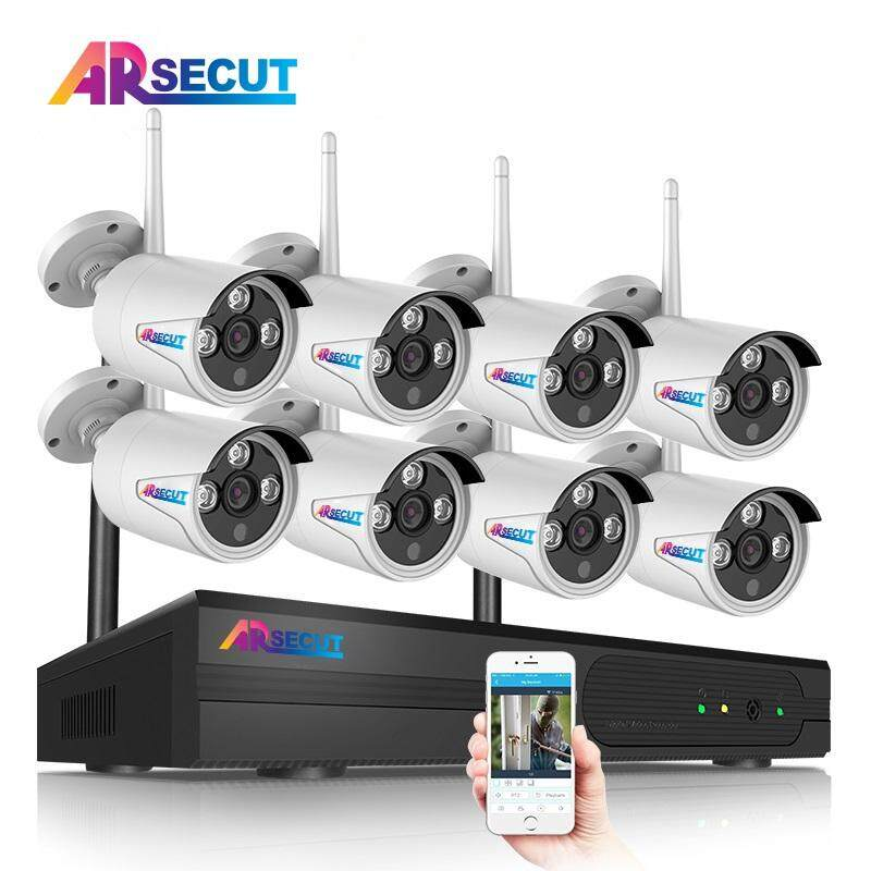 ARSECUT 8CH WIFI NVR Wireless Security CCTV Surveillance Systems Plug and Play with 8 Indoor/Outdoor 960P WIFI IP Cameras