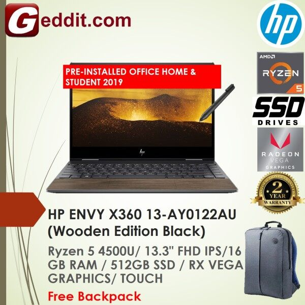HP ENVY X360 13-AY0122AU LAPTOP (RYZEN 5 4500U,16GB,512GB SSD,13.3 FHD TOUCH,RX VEGA 6,WIN10) FREE BACKPACK + PRE-INSTALLED OFFICE H&S 2019 Malaysia