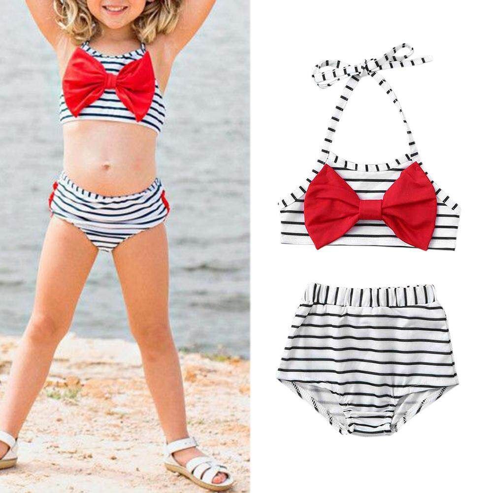 29306b6b3f0 DomybestShop 2pcs/set Baby Girl Halter Swimsuit Bowknot Striped Bathing  Suits for Children Two Pieces