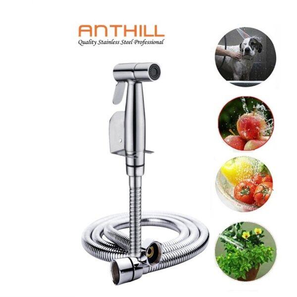 ANTHILL SUS304 Stainless Steel Hand Bidet For Toilet Bathroom Modern Hand Spray & 125MM Flexible Hose