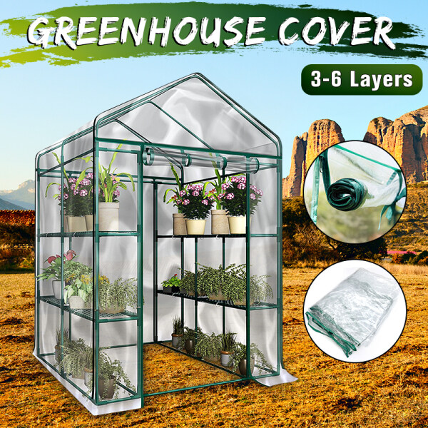 【In Stock】3-Tier Portable Greenhouse 6 Shelves PVC Cover Garden Cover Plants Flower House 【Not included iron bracket】 -