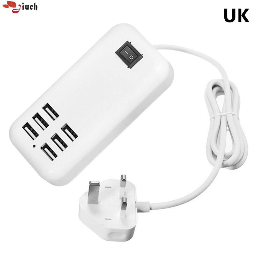 Jiuch 5 V/3A 6 Cổng USB Anh Cắm Sạc Điện Thoại USB Plus Tường Thông Minh Bộ Sạc Adapter Sạc cho Tất Cả Các Điện Thoại Thông Minh Miếng Lót